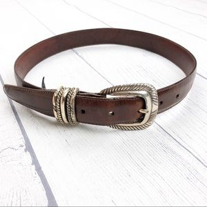 Brighton Brown Leather Textured Metal Ring Belt S